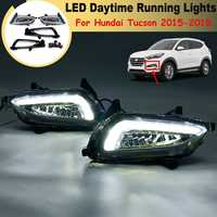 For Hyundai Tucson 2015 2016 17 2018 1 Pair White Led Drl Daytime Running Lights Daylight 12V Abs Fog Lamp Cover Car Styling