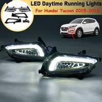 For Hyundai Tucson 2015 2016 17 2018 1 Pair White Led Drl Daytime Running Lights Daylight 12V Abs Fog Lamp Cover Car Styling