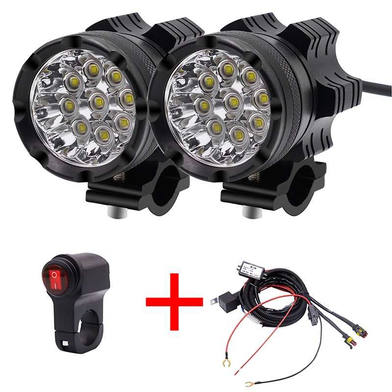 Universal 9 Chips Headlight Led Motorcycle Motorbike 7800 Lm Moto Spotlight Waterproof Fog Spot Bulb Constant Light