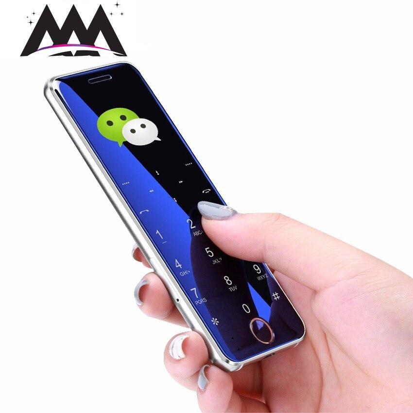 Ulcool V66 Mini Card mobile Phone bluetooth dialer 1.67 Ultra Slim Metal Body Telephones FM dual SIM card Small Cell phones