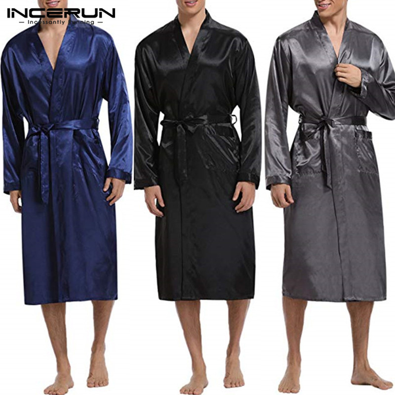 INCERUN Fashion Silk Satin Mens Sleepwear Robe Long Sleeve Autumn Long Bathrobe Lightwear Removable Belt Pockets Gown Pajamas