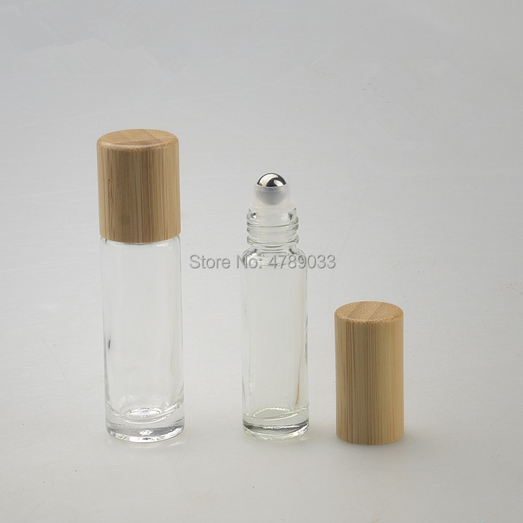 20/50pcs 10ml Clear Glass Bottle Roll On Empty Fragrance Perfume Essential Oil Bottles With Metal Ball Roller Bamboo Cap