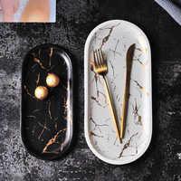 Assiettes en marbre de Style européen ensemble de dîner en céramique incrustation d'or en porcelaine Dessert bijoux assiette Steak salade gâteau assiettes vaisselle