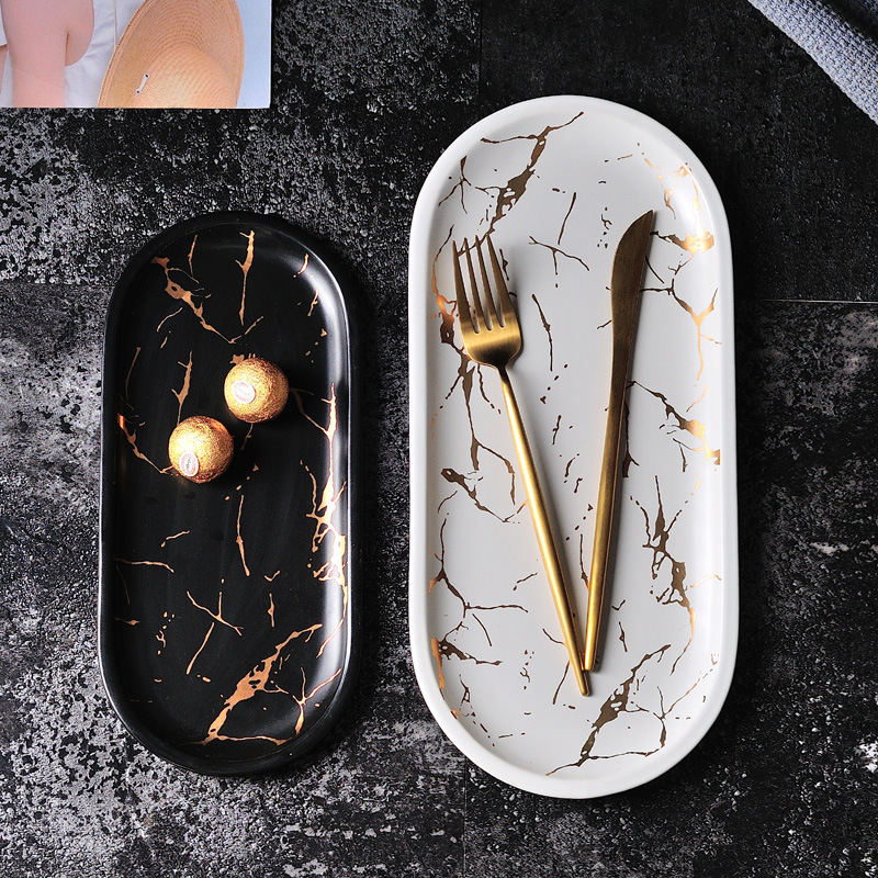 European Style Marble Plates Ceramic Dinner Plate Gold Inlay Porcelain Tableware