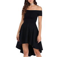 839b58fcdc 2018 New Women Bodycon Dress Black Short Front Long Back Short Sleeve  Vestidos Off Shoulder Evening