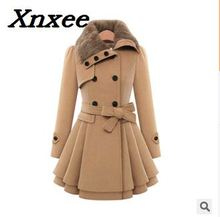 Fur Collar Women Winter Wool Blend Coat Slim Wool Coat and Jacket Double Breasted Outerwear Xnxee double breasted belt epaulet design turndown collar wool coat