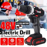 Drillpro 48V Impact Drill Electric Hand Drill Battery Cordless Hammer Drill Electric Screwdriver Lithium Ion Battery Power Tools|Electric Drills| |  -