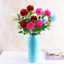 1pc Fake Silk Roses Artificial Flower For Wedding Bouquet Decoration Table Wall Real Touch Rose 2pcs Heads+1pc Bud
