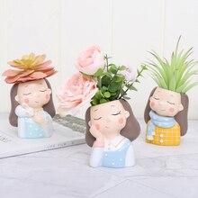Садовый декор, цветочный горшок, горшок для суккулентов, ваза для девочек, статуэтки, Настольная статуя, фигурка, микро бонсай для пейзажа, держатель, горшок