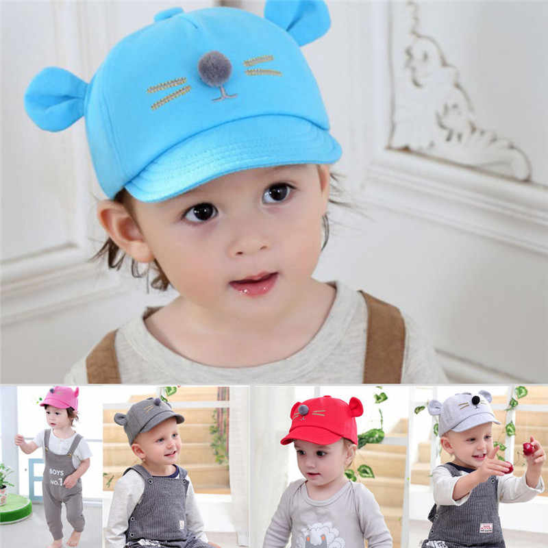 719cdcabe 2-5Years Baby Boys Girls Mouse Ear Caps Hat Cute Baby Kids Baseball Cap  Beret Sun Hat Newborn Peaked Snapback Caps Casquette