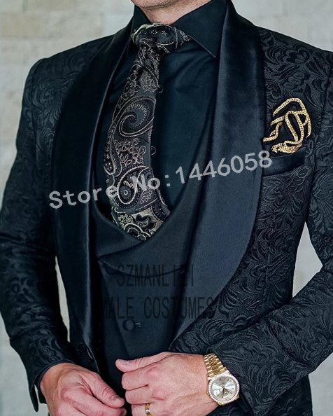 (Jacket+Pants+Vest) 2019 Custom Made Black Paisley Men Suit Groom Tuxedos Groomsmen Best Man Prom Blazer Mens Wedding Suits