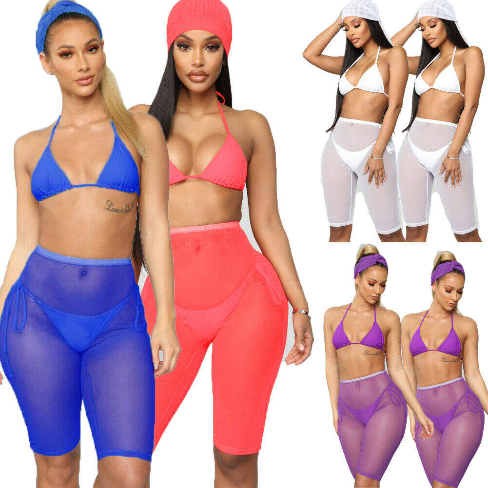 Women Beach Mesh Sheer Elastic Swimwear High Waist Active Sport Dance Cycling Short Bikini Cover Up Shorts