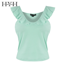 HYH HAOYIHUI Hot 2019 New Women Sexy  Pure-coloured Sling Shirt Shoulder-bare Lotus Leaf Edge Round Neck Tops Casual