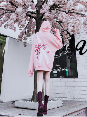 Image 2 - 2019 Winter modis Cherry Blossom Print Hoodie Streetwear Hip Hop oversize Women Men Unisex Cotton  Sweatshirts Retro Hoody-in Hoodies & Sweatshirts from Men's Clothing
