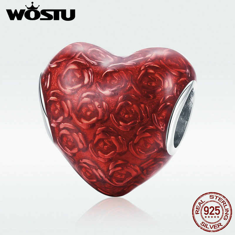 WOSTU Real 925 Sterling Silver Rose's Heart Love Beads Fit Charm Bracelet & Necklace Pendant For Women Romantic Jewelry DXC1064