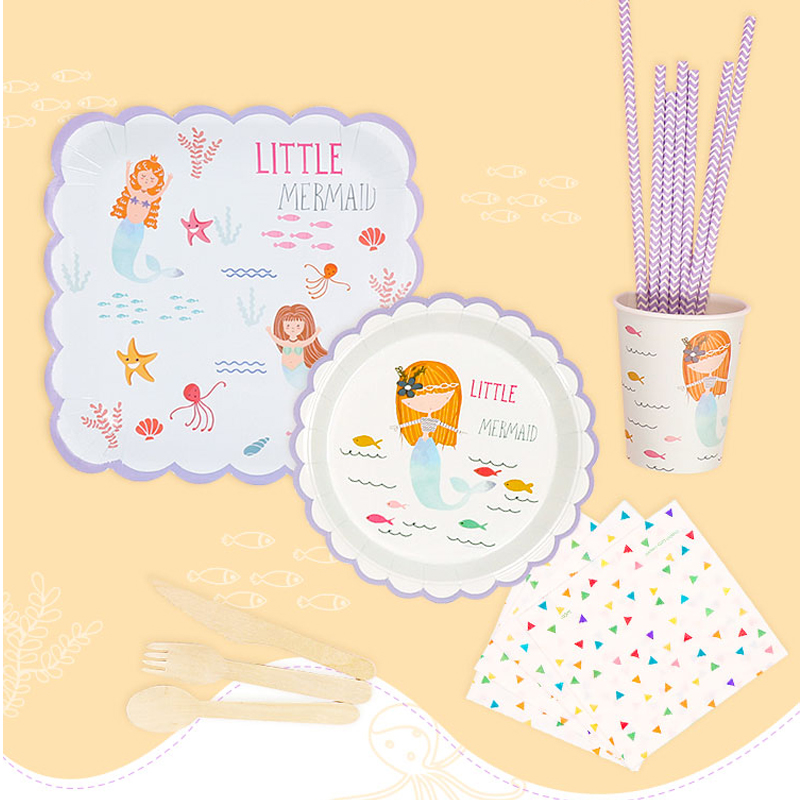 Little Mermaids Plates Baby Shower Birthday Party Decoration Kids Favor Cute Ocean Theme Cups Straw I Am One Banner Supplies