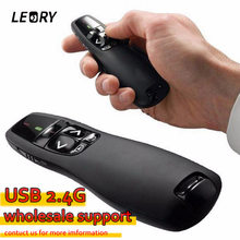 New Arrival Portable Comfortable Handheld R400 Remote Control Wireless Presenter Receiver Pointer Case with Red Laser Pen Black(China)