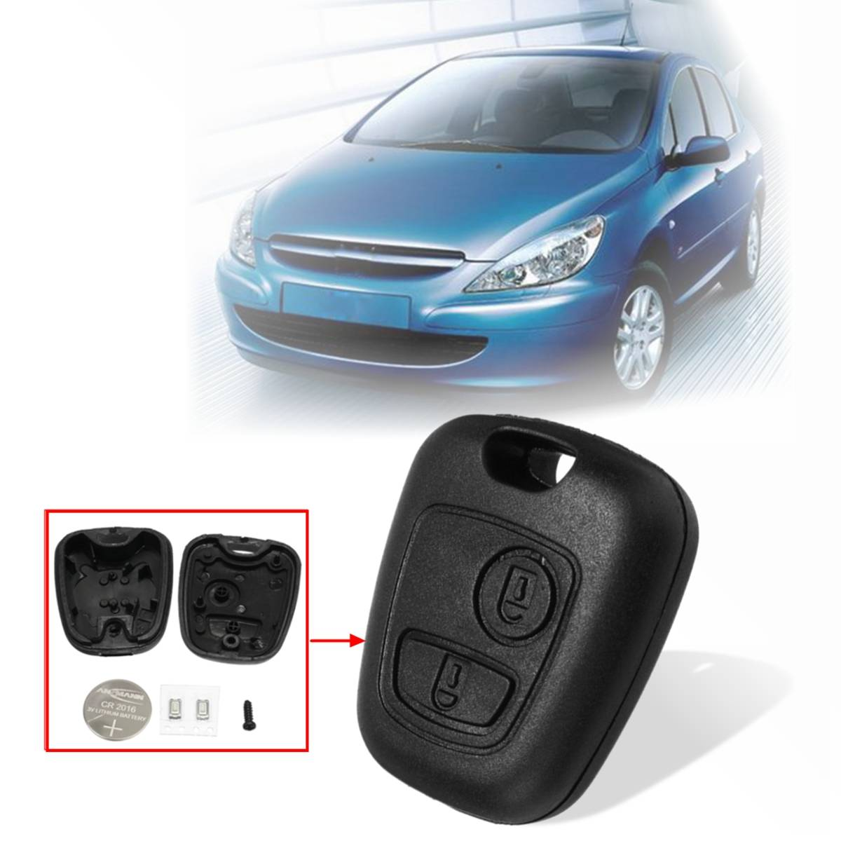 For Peugeot 206 207 2 Button Remote Key Fob Case Replacement with Button Cell