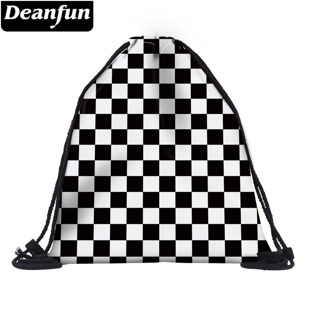 Deanfun Women 3D Printing Drawstring Bag Black White Geometric Backpack Travel Softback Mens Backpacks  28316