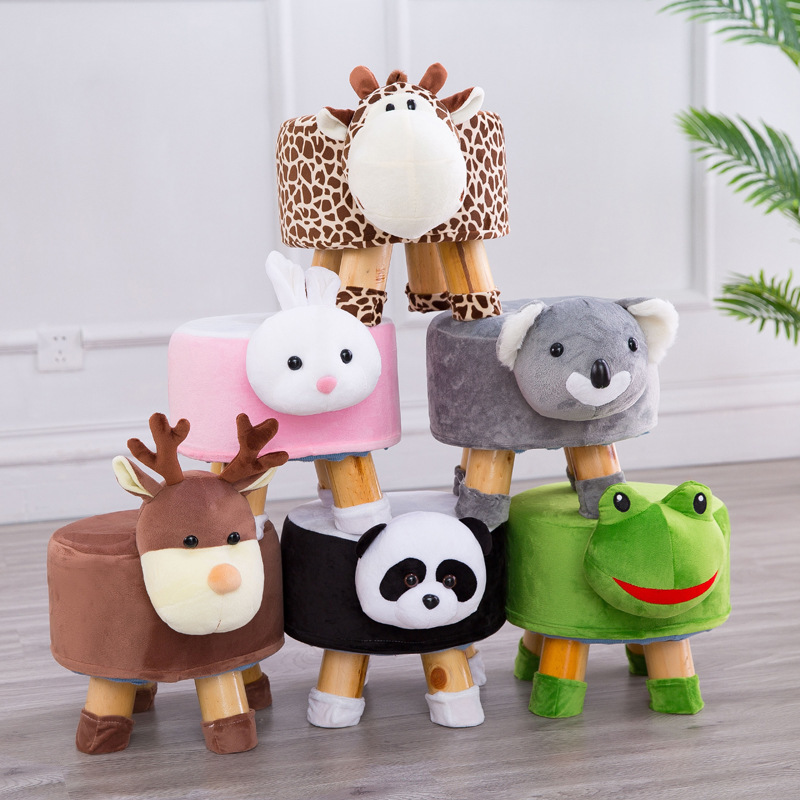 Solid Wood Animal Head Stool Set Cartoon Cylinder Shoes Stool Kindergarten Small Seat Nursery Decor Kids Gift Children Furniture
