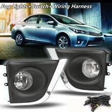 Пара бампер автомобиля Противотуманные дальнего света + H16 лампы + переключатель проводов для Toyota Corolla 2014 2015 Туман лампа решетки