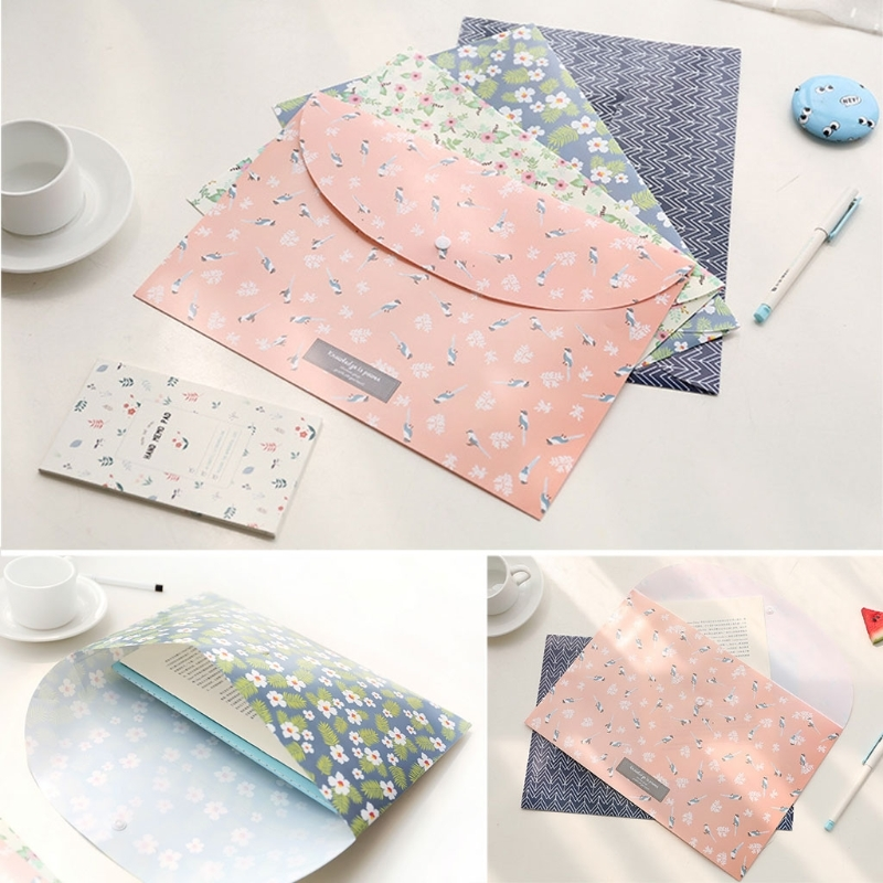 Durable Big Capacity Folder Snap Floral File Bag Paper A4 School Stationery Office Supplies Filing Products 4colors(China)