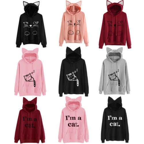 Ladies Female Print Warm Brief Sweatshirts Top Women Hoodie Long Sleeve Sweatshirt Jumper Hooded Pullover Tops