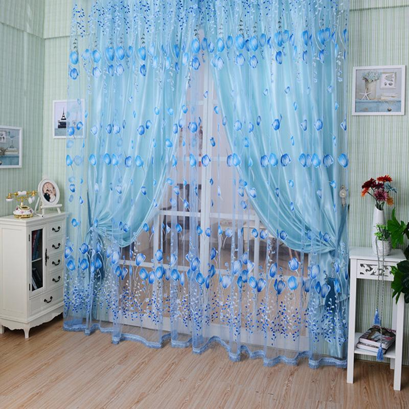 Tulip Floral Tulle Door Window Screening Curtain Sheer Drape Panel Scarfs Valances Beads Tassel Curtains For Living Room|Curtains| |  - title=