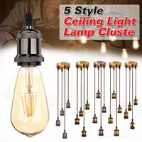 Modern Retro Industrial Pendant E27 Ceiling Light Lamp Cluster 4pcs Lamp Holders + 1 Suction Cup Aluminum Alloy