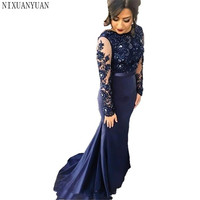 Navy Blue High Neck Lace Mermaid Party Gowns 2019 Long Sleeves Appliqued Party Gowns Evening Dresses Long Prom Dreses