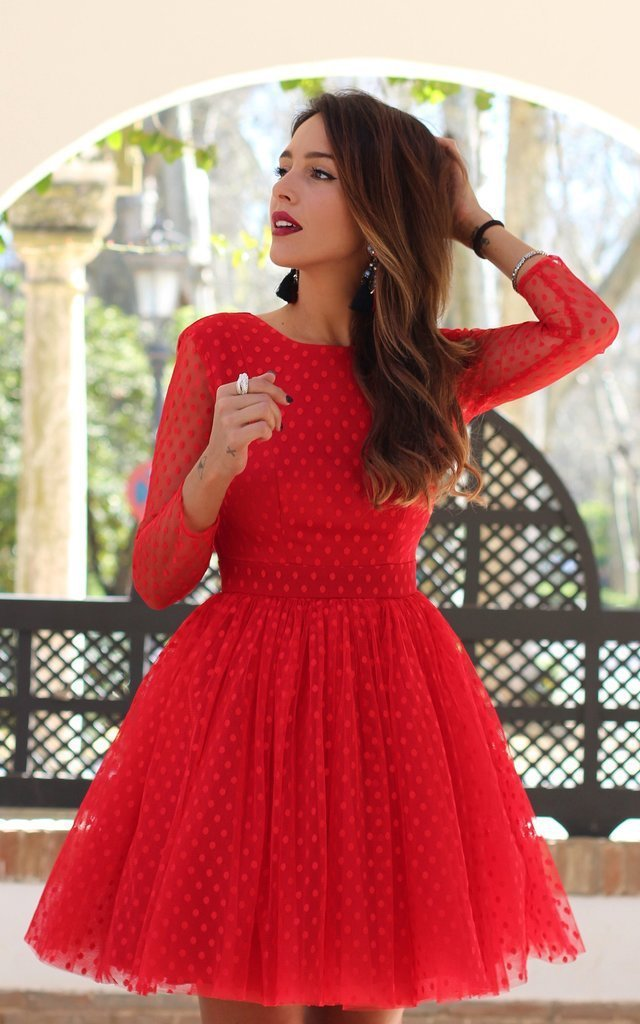 Red Cocktail Dresses Cheap Long Sleeve Ball Gown S...