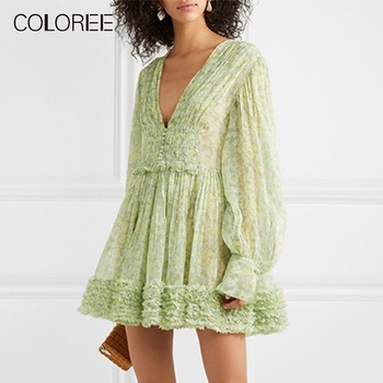 e5553626e0fe COLOREE vacaciones Mini vestido 2019 verano elegante luz verde cuello en V  impreso plisado volantes vestido pasarela diseñador Chic vestido