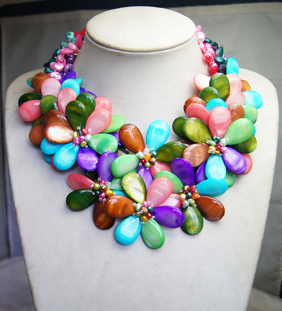 2017 Time limited Limited Chains Necklaces Collier Collares Maxi Rose Mop Shell Flower Wire Wrap Quartz Party