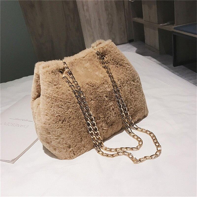 Osmond Feminine Bolsa Women Handbag Plush Chain Bag Fashion Faux Fur Messenger Bag Female Shoulder Crossbody Bag Ladies Tote 5
