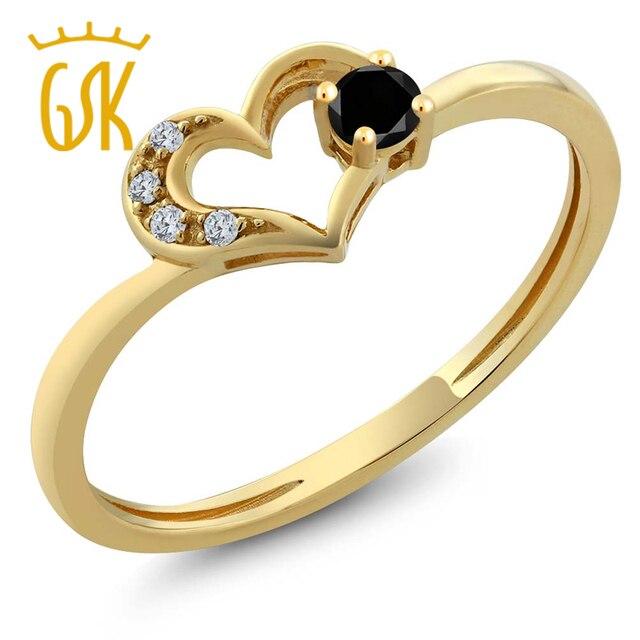 Gemstoneking Okrągły Czarny Diament Weddngin Pierścienie 10 K Yellow