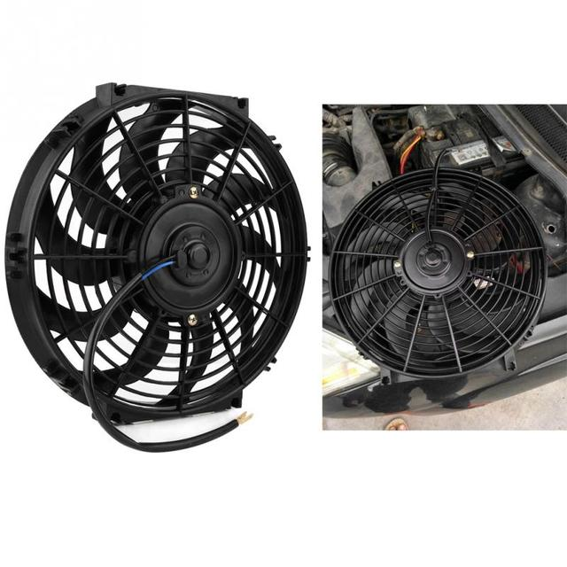 12 Inch Universal Car Radiator Fan Slim Push Pull Electric Engine Cooling 12v With Mounting Kit