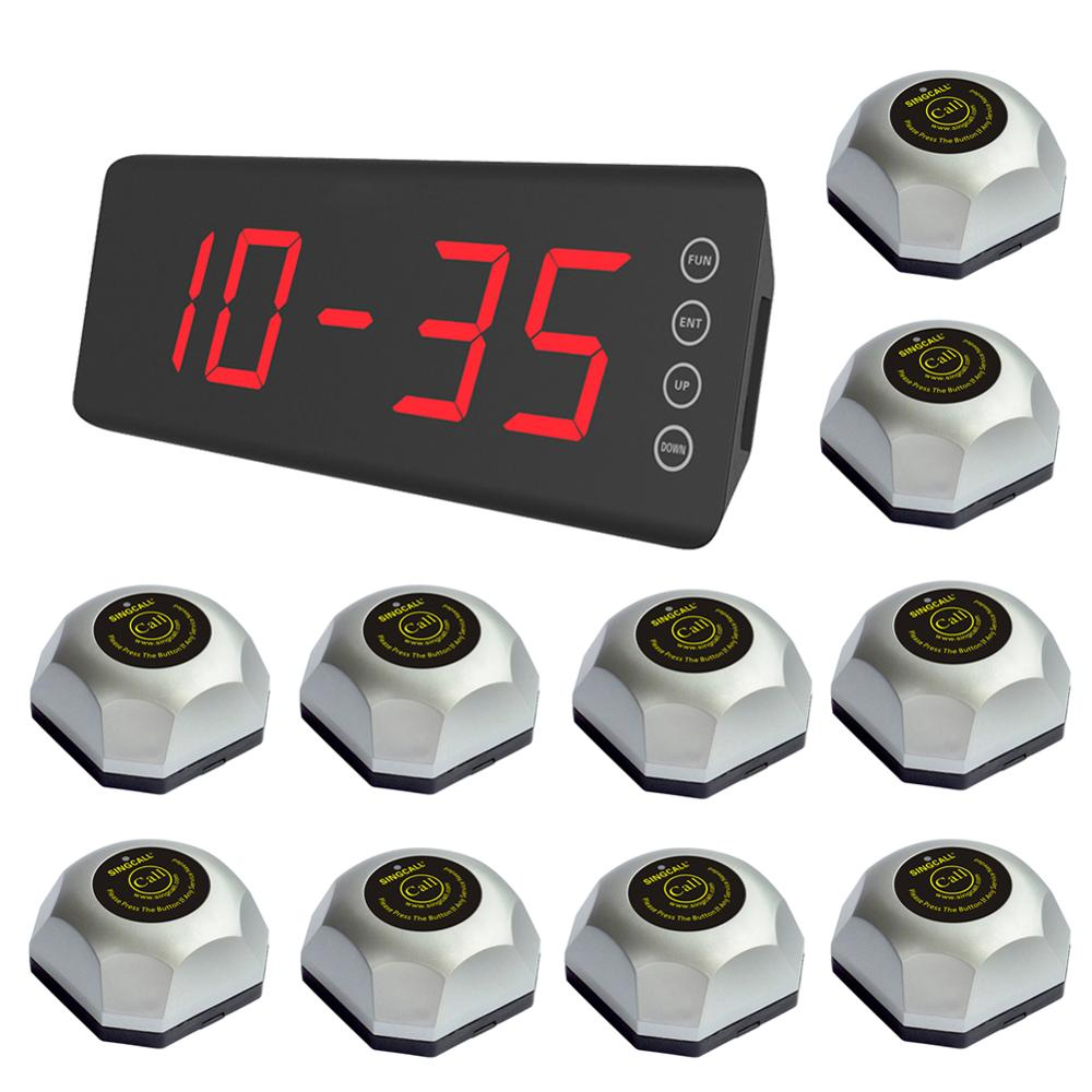 SINGCALL Wireless Restaurant Calling Waiter System 1 screen fixed receiver  10 guest pagers for Hotel Cafe wireless call bell|Pagers| |  - title=