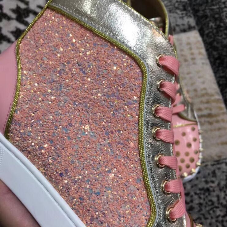 Cuir Date low Vulcaniser À Chaussures Jante Couverture patent Haute Femmes 2018 En Rose Glitter Leather Spikes Dames Lacets De Top Leather Matt Mode Hauts D'or Décontractées wSPFqdA