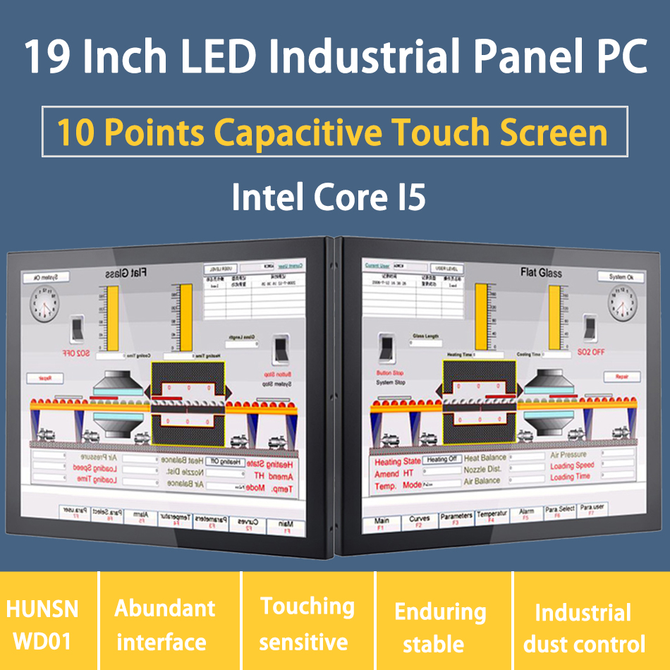 HUNSN LED Industrial Panel PC 19 Inch Touch Screen Windows 7/10/Linux 10 Points Embedded PC,[ DA02W]
