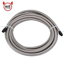 evil energy 5M AN3/4/6/8/10 Stainless Steel Braided PTFE Brake Hose Line Racing Fuel Oil Cooler Silver