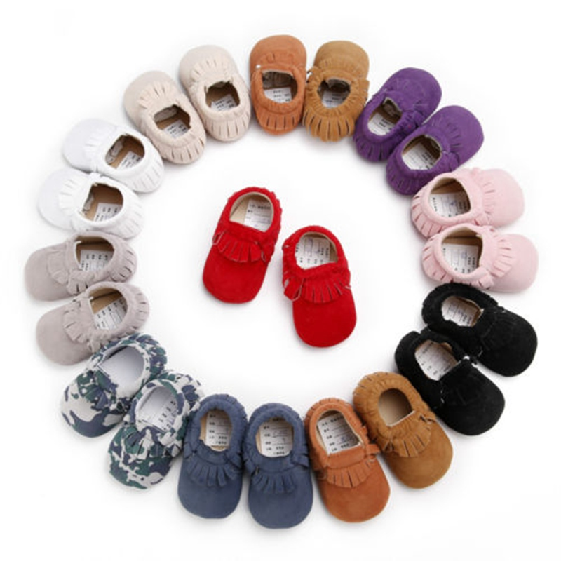 Infant Toddler Baby Boys And Girls Soft Solid Sole Tassle Crib Shoes Sneaker Newborn To 18 Months Casual