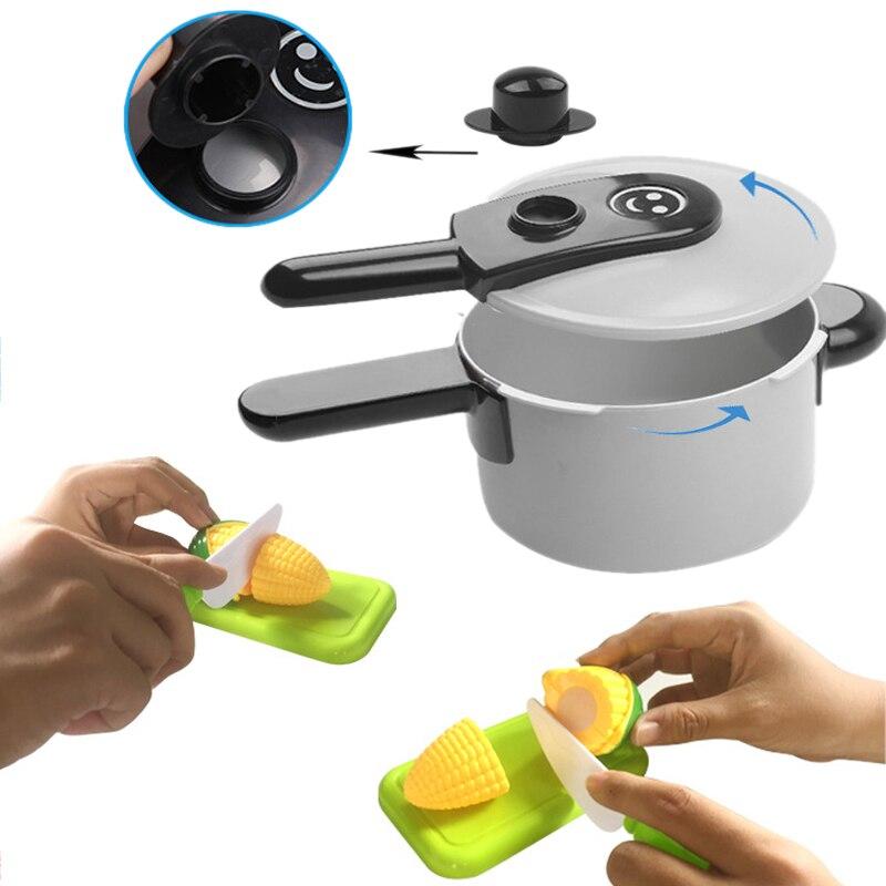 Baby Kind Spielen Küche Utensilien Haus Spielzeug Kochen Töpfe Pfannen Food Gerichte Kochgeschirr