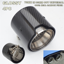 4 Pieces (INLET OD):73mm 93MM OUT Glossy Universal Carbon Fiber Exhaust tip For BMW M Performance exhaust pipe M2 F87 M3 F80 M4