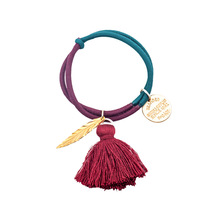 Good Quality Hair Gums For Girls Vintage Tassel Metal Charms Ornament Rubber Bands Two-tone Elastic Hair Bands Hair Rings Access tassel decor two tone shopper bag