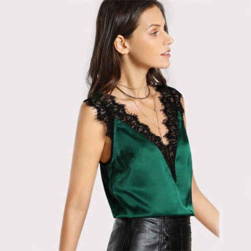 Yeni 2018 Saten Dantel Bluzlar Seksi Gömlek Yaz V Boyun Seksi Kırpma Üst Kadınlar Gevşek Kolsuz Camiş Casual Bluz Tops gömlek