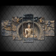 5 Pieces Buddha Statue Art Wall Picture Modern Home Decoration Living Room Or Bedroom Canvas Print Painting