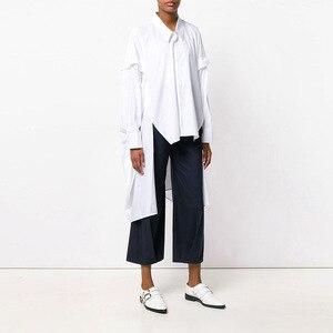 Image 3 - [EAM] 2020 New Spring Lapel Long Sleeve Black Irregular Hem Button Split Joint Loose Big Size Shirt Women Bouse Fashion JG725