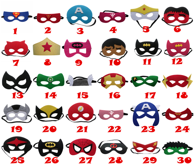 20pcs/set Creative Cartoon Super Hero Masquerade Mask Childrens Day Party Supplies Christmas Wedding Decoration Birthday gift