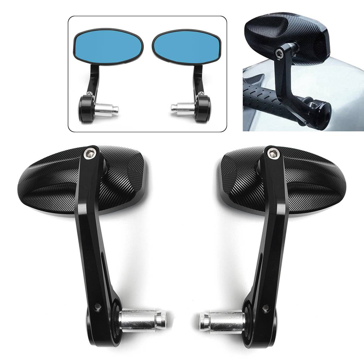 1Pair 7//8 22mm CNC Motorcycle Bar End Black Rearview Side Mirrors Compatible for Triumph Speed Triple