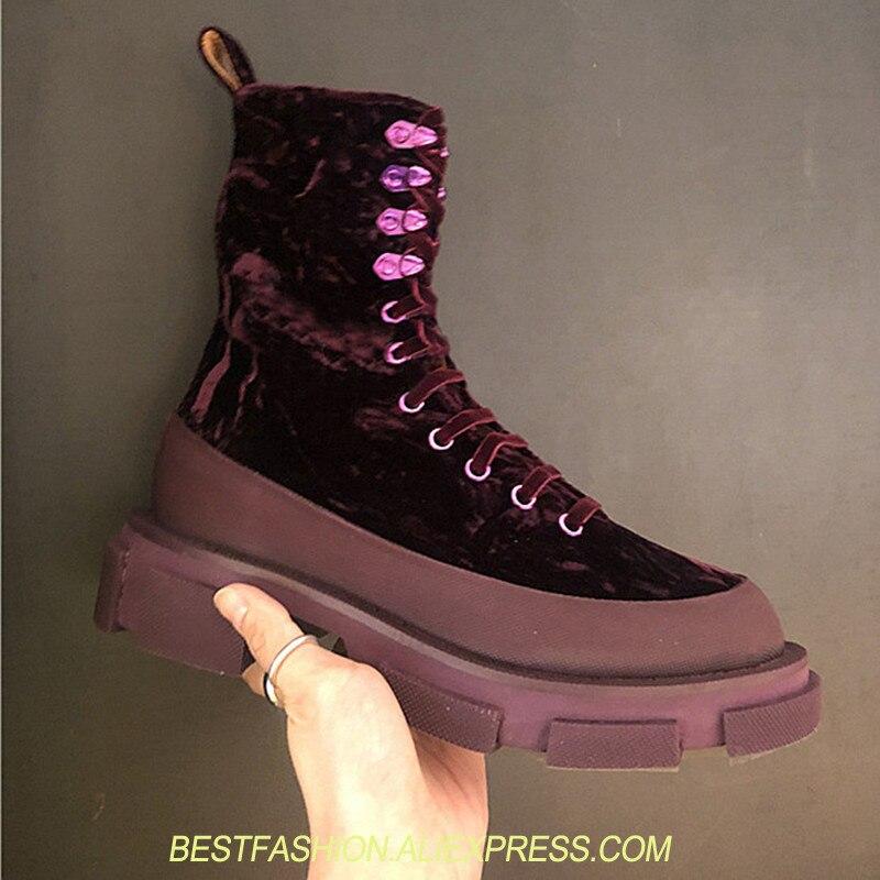 Женские ботинки на шнуровке в стиле панк, Ботинки martin на высоком каблуке, короткие ботинки с круглым носком, бархатные ботинки на толстом ка